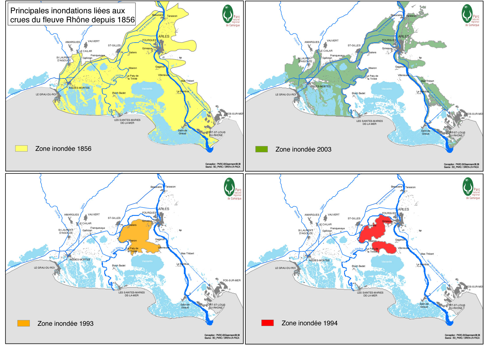 Bien-aimé Des cartes de la Camargue, delta du Rhône, et du parc naturel  NX24